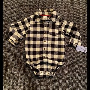 Nwt Carters white and black flannel Buffalo plaid body suit size 12m